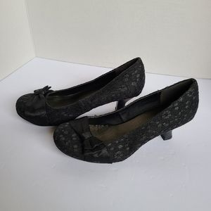 Black Lace Heels, SO, 6.5, Bow Accent